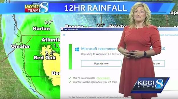 Janela de upgrade do Windows 10 interrompe mulher do tempo em jornal nos EUA
