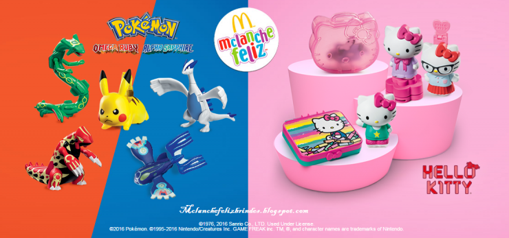 Brindes do McLanche Feliz serão Pokémons lendários e HelloKitty
